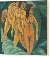 Three Bathers Wood Print