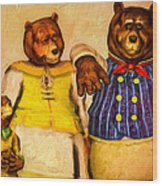 Three Bears Family Portrait Wood Print by Bob Orsillo