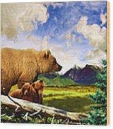 Three Bears In Montana Wood Print