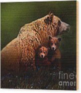 Three Bears Wood Print by Robert Foster