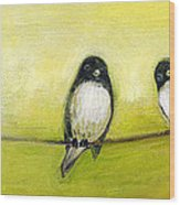 Three Birds On A Wire No 2 Wood Print