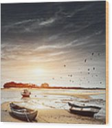Three Boats Wood Print