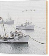 Three Boats Moored In Soft Morning Fog  Wood Print