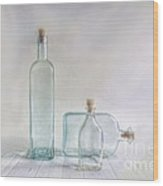 Three Bottles Wood Print