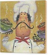 Three Bowl Chef On Gold Wood Print