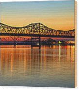Three Bridge Sunset Wood Print