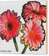 Three Bright Red Flowers Wood Print