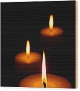 Three Burning Candles Wood Print by Johan Swanepoel
