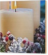 Three Burning Candles Wood Print