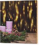 Three Candles In An Advent Flower Arrangement Wood Print