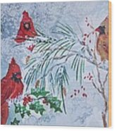 Three Cardinals In The Snow With Holly Wood Print