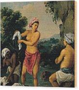 Three Caribbean Washerwomen By A River Wood Print