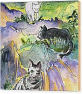 Three Cats On The Penon De Ifach Wood Print