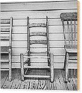 Three Chair Porch Wood Print