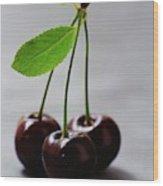 Three Cherries On A Stem Wood Print