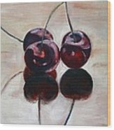 Three Cherries Wood Print