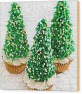Three Christmastree Cupcakes  Wood Print