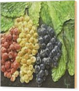 Three Colors Of Grapes Wood Print