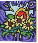 Three Crows And Sunflowers Wood Print by Genevieve Esson