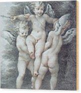 Three Cupids Wood Print