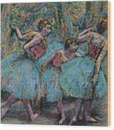 Three Dancers.blue Tutus Red Bodices Wood Print