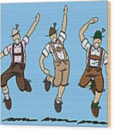 Three Dancing Oktoberfest Lederhosen Men Wood Print