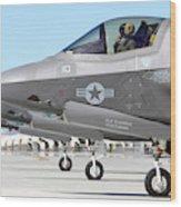Three F-35b Lightning IIs At Marine Wood Print