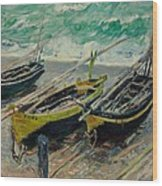 Three Fishing Boats Monet 1886 Wood Print
