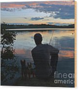 Three Fishing One Pole Wood Print