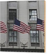 Three Flags Together On 5th Avenue Wood Print
