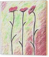 Three Flowers Wood Print by Scott Ware