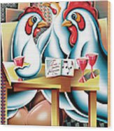 Three French Hens After Picasso Wood Print