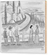 Three Frontiersmen And Two Women Watch A Mountain Wood Print