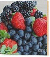 Three Fruit 2 - Strawberries - Blueberries - Blackberries Wood Print