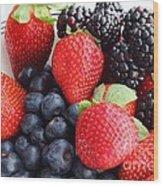 Three Fruit - Strawberries - Blueberries - Blackberries Wood Print by Barbara Griffin