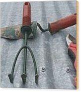 Three Garden Tools Wood Print