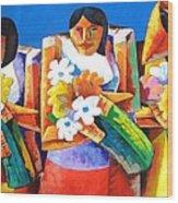 Three Girls With Flowers Wood Print