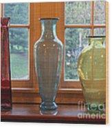 Three Glass Vases In A Window Wood Print