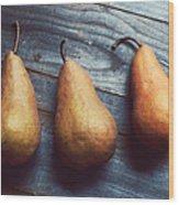 Three Gold Pears Wood Print