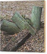 Three Green Logs Wood Print