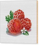 Three Happy Raspberries Wood Print