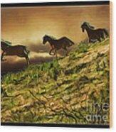 Three Horse's On The Run Wood Print