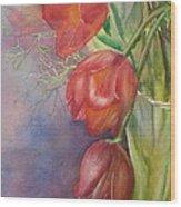 Three In A Vase Wood Print