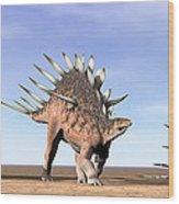 Three Kentrosaurus Dinosaurs Standing Wood Print by Elena Duvernay