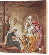 Three Kings Worship Christ Wood Print by William Brassey Hole