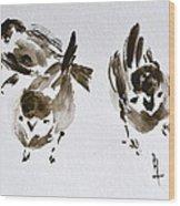 Three Little Birds Perch By My Doorstep Wood Print