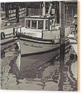 Three Little Boats Sepia Wood Print