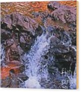 Three Little Forks In The Waterfall Wood Print