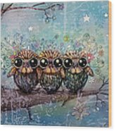 Three Little Night Owls Wood Print