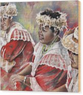 Three Mamas From Tahiti Wood Print